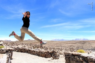jumping for joy at the Colca Canyon