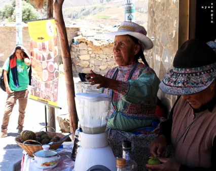 pisco sour being freshly made by this lady